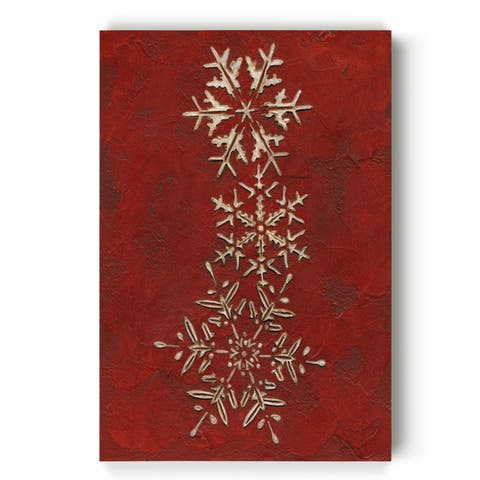 Snowflakes on Red II -Gallery Wrapped Canvas