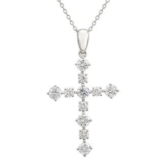 14k White Gold ECOMARK Created Diamond Cross Pendant Necklace 1 2 Cttw E F VS2 SI1 16 18