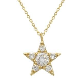 14k Yellow Gold ECOMARK Created Diamond Star Pendant Necklace 1 5 Cttw E F VS2 SI1 16 18