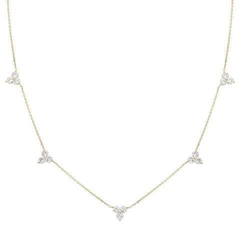"14k Yellow Gold ECOMARK® Created Diamond Station Pendant Necklace (1.0 cttw, E-F, VS2-SI1), 16-18"""