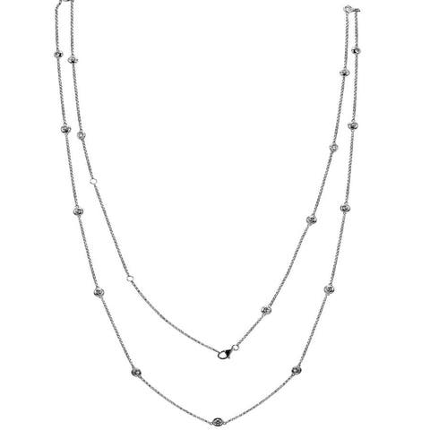 "14k White Gold ECOMARK® Created Diamond Double Strand Necklace (2.11 cttw, E-F, VS2-SI1), 32-36"""