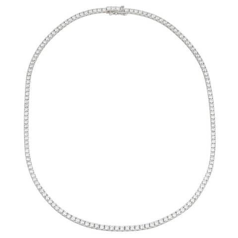 "18k White Gold ECOMARK® Created Diamond Strand Tennis Necklace (9.63 cttw, E-F Color, VS2-SI1), 16.5"""