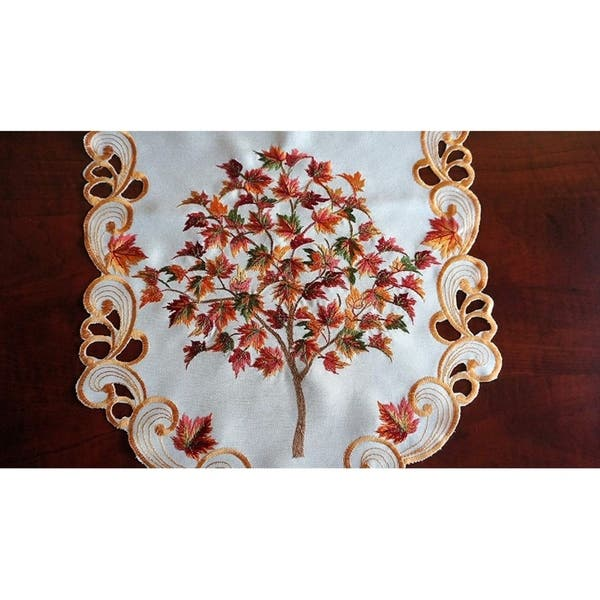 Granddeco Fall Harvest Table Runner Cutwork Embroidered