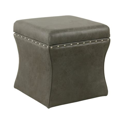 HomePop Cinch Storage Ottoman with Nailheads