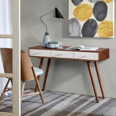 Madison Park Howard White/ Pecan 3 Drawer Writing Desk