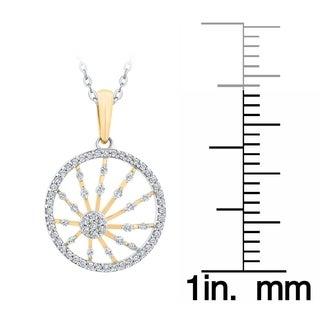 10K Two Tone Gold 3 8ct TDW Diamond Wheel Of Life Pendant G H I1 I2