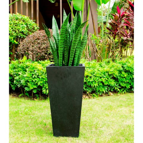 Black Lightweight Concrete Modern Tapered Rectangle Planter 14x14x28in