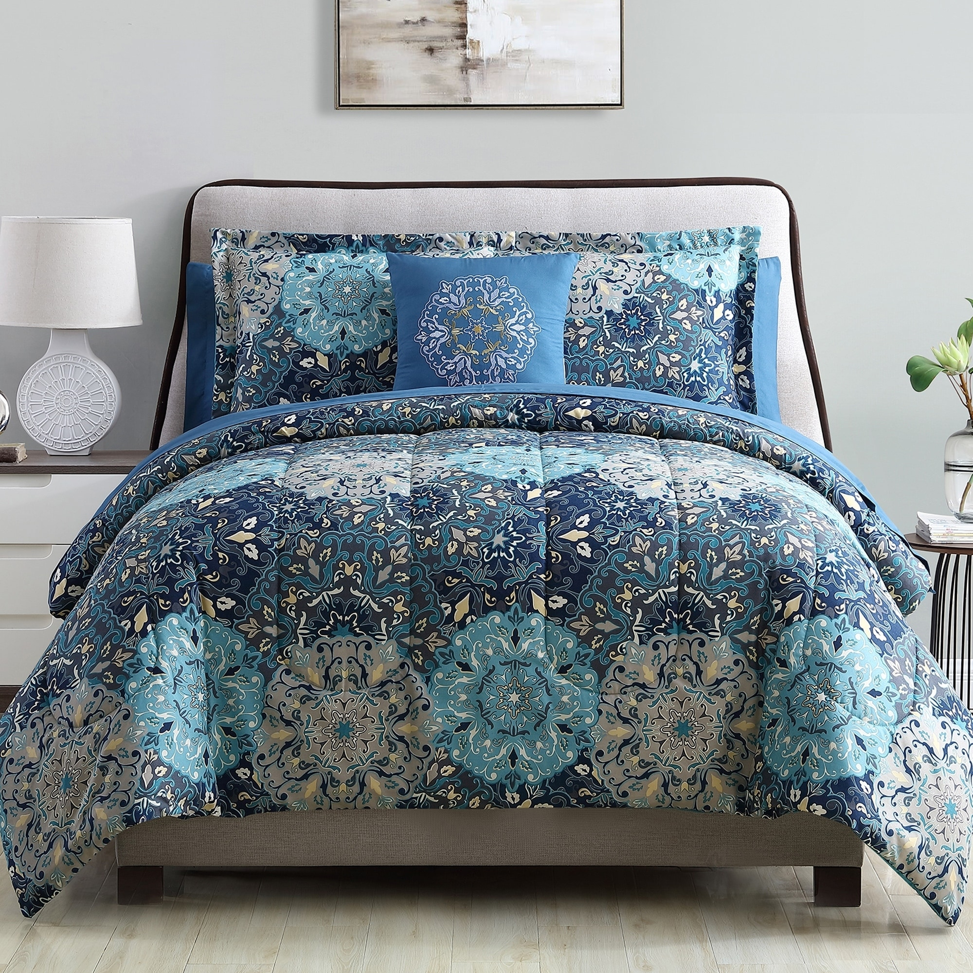 Abstract Floral Print Duvet Cover Reversible Quilt Set /& Pillowcases All Sizes