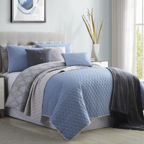 Andria 10 Piece King Size Comforter and Coverlet Set The Urban Port, Blue and Gray