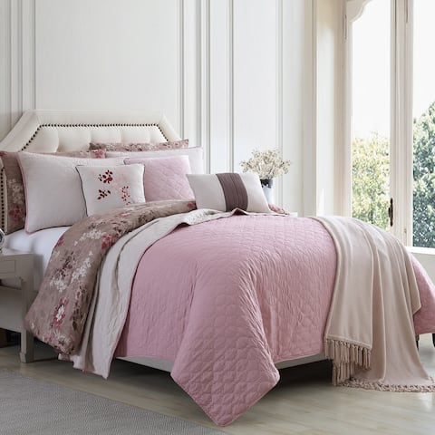 Andria 10 Piece Queen Size Comforter and Coverlet Set The Urban Port, Brown and Pink
