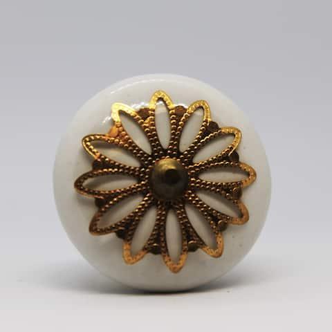 Floral Filigree Ornate Round Ceramic Cabinet Knob Pull