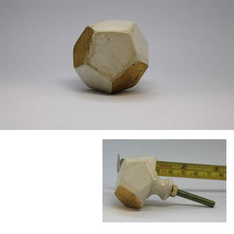 Antique Gold-and-white Faceted Stone Knob