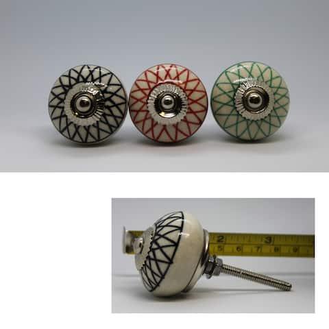Hand Painted Ceramic Round Knob