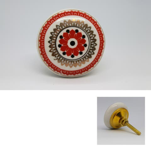 Hand Painted Flower Round Ceramic Knob