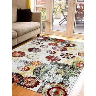 Transitional Floral Turkish Oriental Over Dyed Disstressed Area Rug
