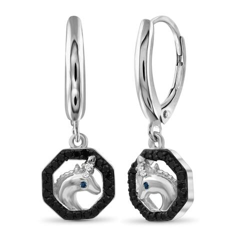 JewelonFire 1/7 Ct Multi Color Diamond Unicorn Octagon Earrings in Sterling Silver - White