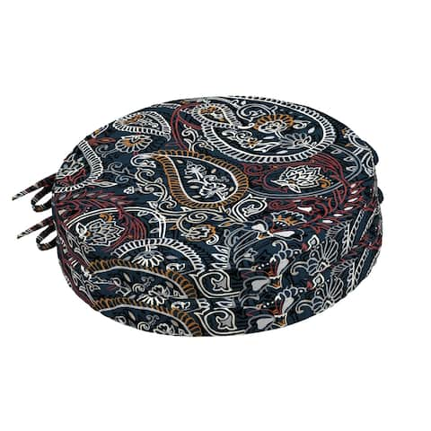 Arden Selections Palmira Paisley Outdoor Round Foam Bistro Cushion, 2 pack - 15 in L x 15 in W x 2 in H