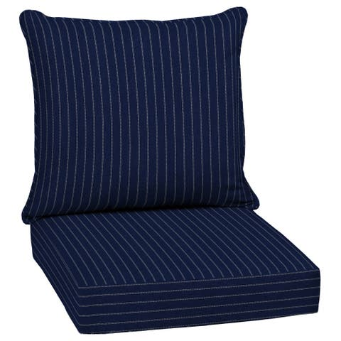 Arden Selections Navy Woven Stripe Outdoor 24 in. Conversation Set Cushion - 46.5 in L x 24 in W x 5.75 in H