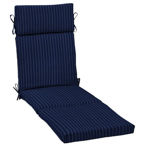 Arden Selections Navy Woven Stripe Outdoor Chaise Lounge Cushion - 72 in L x 21 in W x 4 in H