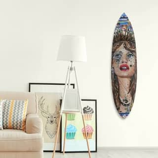 Oliver Gal 'Katy Hirschfeld - Heroes Surfboard' Fashion and Glam Acrylic Art - Gray, Red - 18 x 76