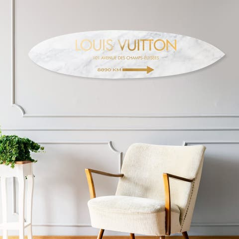 Oliver Gal 'Surfboard Marble Gold' Fashion and Glam Acrylic Art - Gold, White