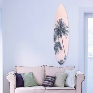 Oliver Gal 'Palm Surfboard pink' Floral and Botanical Acrylic Art - Pink, Green - 18 x 76