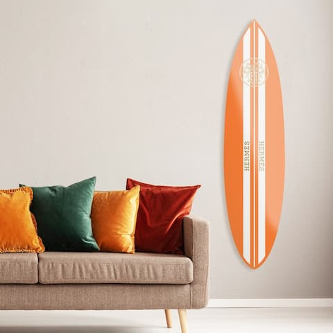 Oliver Gal 'French Surfboard Flat' Fashion and Glam Acrylic Art - Orange, White