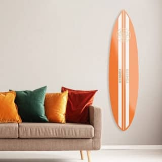 Oliver Gal 'French Surfboard Flat' Fashion and Glam Acrylic Art - Orange, White - 76 x 18