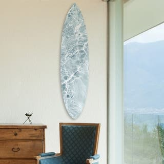 Oliver Gal 'Calming Waves Clear Surfboard' Nautical and Coastal Acrylic Art - White, Gray - 18 x 76