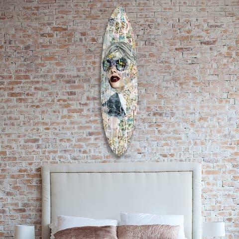 Oliver Gal 'Katy Hirschfeld - Galaxy Surfboard' Fashion and Glam Acrylic Art - White, Black - 18 x 76