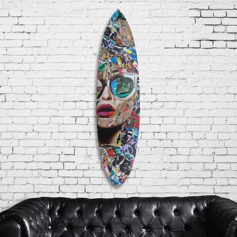 Oliver Gal 'Katy Hirschfeld - Timing is Everything Surfboard' Fashion and Glam Acrylic Art - Gray, Red - 18 x 76