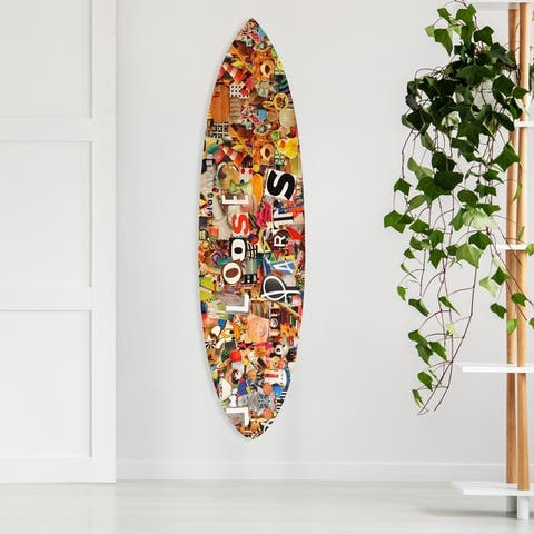 Oliver Gal 'Katy Hirschfeld - Loose Parts Surfboard' Sports and Teams Acrylic Art - Orange, White