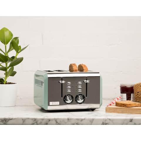 Haden Cotswold 4-Slice, Wide Slot Toaster with Browning Control, Cancel, and Defrost Settings