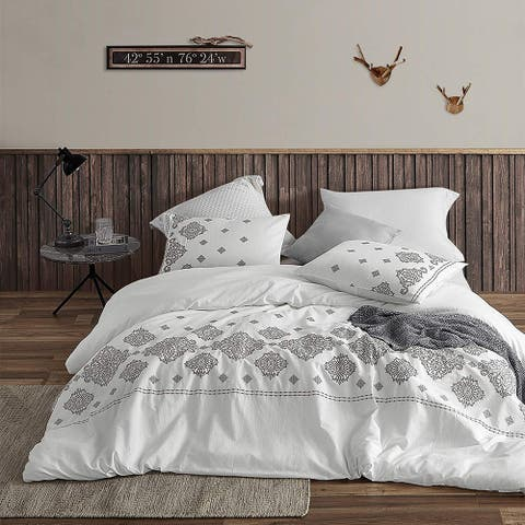 Phineas Gray Embroidered Duvet Cover