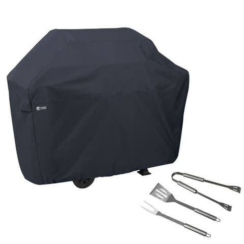 Classic Accessories Water-Resistant 58 Inch BBQ Grill Cover with Grill Tool Set