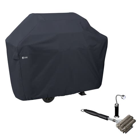 Classic Accessories® BBQ Grill Cover, with Coiled Grill Brush & Magnetic LED Light