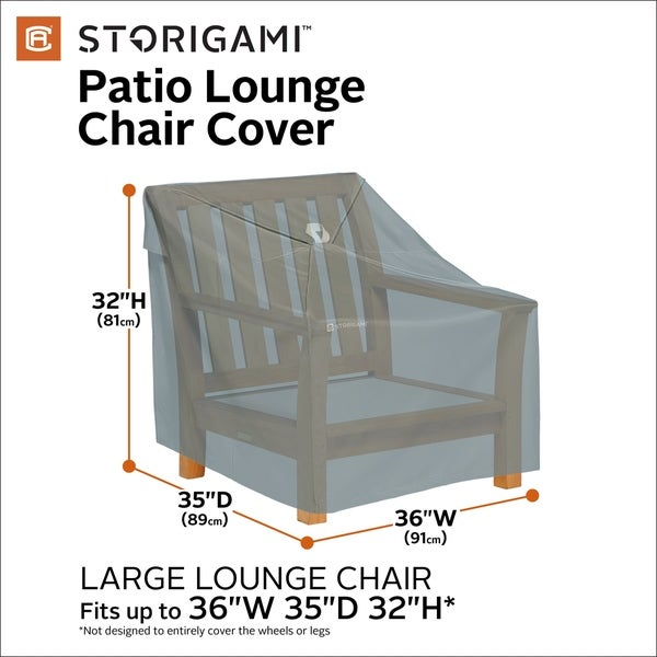 Classic Accessories Storigami Water-Resistant 36 Inch Easy Fold Lounge Chair Cover, 2 Pack, Monument Grey