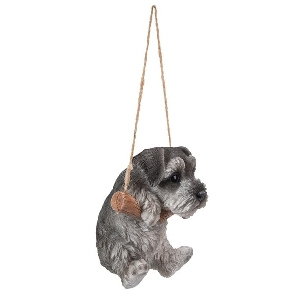 Life Like Figurine Statue Home Garden NEW Hanging SCHNAUZER Puppy Dog