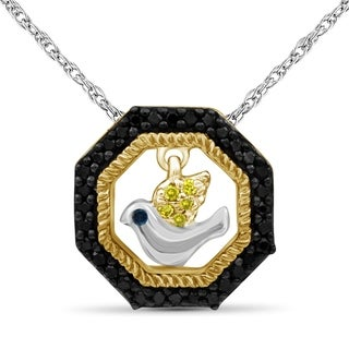 JewelonFire 1 10 Ct Multi Color Diamond Dangling Bird Octagon Pendant In 2 Tone Silver