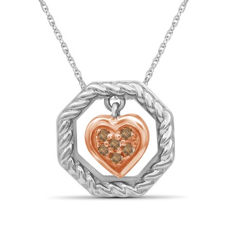 JewelonFire 1/20 Ct Champagne Diamond Dangling Heart Octagon Pendant in 2-tone Silver - Brown