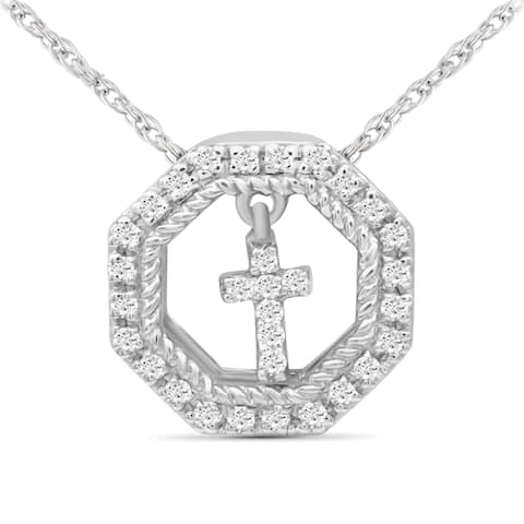 JewelonFire 1/10 Ct Genuine White Diamond Dangling Heart Octagon Pendant in Sterling Silver - Assorted Color