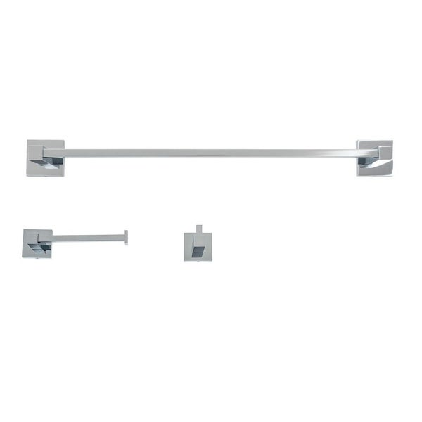 Italia CA318SET Capri Polished Chrome 3 Piece Bathroom Accessory Set