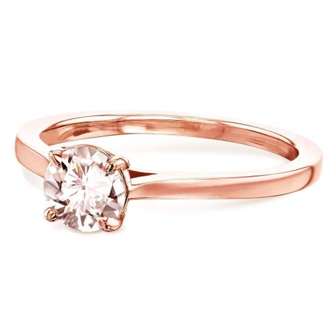 Annello by Kobelli 14k Gold 5mm Round Pink Morganite Taper Shank Cathedral Solitaire Ring