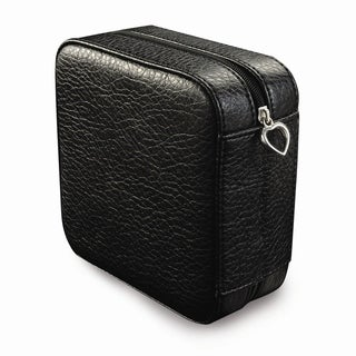 Black Faux Leather Multiple Compartments Ring Rolls Zip Jewelry Box
