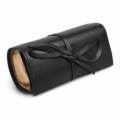 Black Leather Tie Jewelry Roll