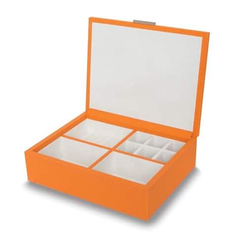 Orange Faux Leather Jewelry Box