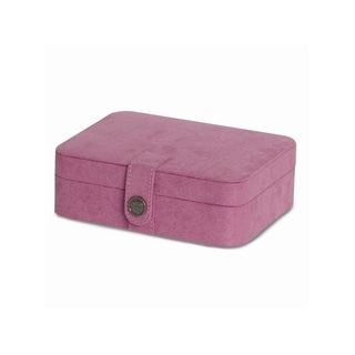 Pink Faux Sueded with Lift-out Tray Multiple Compartments Jewelry Case