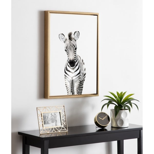 Kate and Laurel Sylvie Zebra Portrait Framed Canvas By Amy Peterson. Opens flyout.