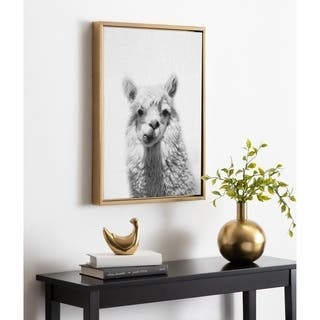 Kate and Laurel Sylvie Alpaca Portrait Framed Canvas By Simon Te Tai