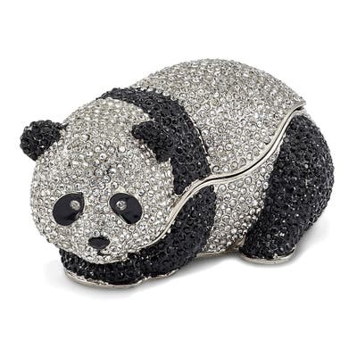 Bejeweled TING TING Black Enamel Full Crystal Panda Bear Trinket Box
